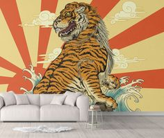 Rising Tiger Animal Wallpaper - Canvas Wall Decal / 1 roll: 24W x 84H