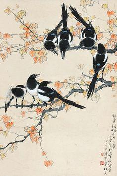 Xu Beihong (1895 – 1953). Magpies.  [Pinned 7-viii-2015]