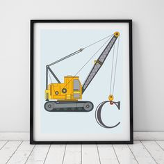 Truck wall art, personalised letter print. Toddler room decor. Truck nursery. Construction vehicle prints. Personalised Baby boy decor by LittleGrippersStore on Etsy https://www.etsy.com/nz/listing/456284212/truck-wall-art-personalised-letter-print