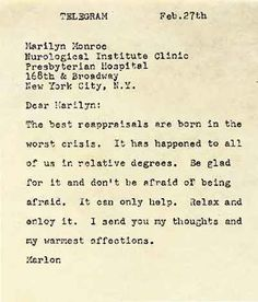 The telegram, dated February 27, 1961, shows Marlon Brando's support for Marilyn Monroe whilst she was recovering from a nervous breakdown in a New York Hospital.