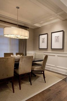In Good Taste: Home Bunch. Neutral. Love the coffered ceiling and wall trim…
