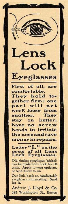 1901 Vintage Ad Lens Lock Eyeglasses Andrew J. Lloyd Co - ORIGINAL ADVERTISING