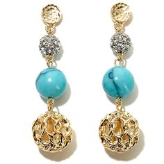 R.J. Graziano Colored Stone Triple-Drop Earrings
