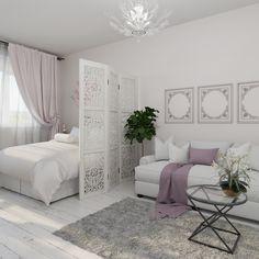 Интерьер этой двухкомнатной квартиры в Химках привлекает белыми тонами и спокойными цветами. Здесь на 54 квадратных метрах будет жить семья из трёх человек