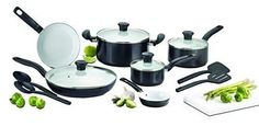 Initiatives 14 Piece Ceramic Safe Nonstick COOKWARE SET, C921SE, Black >>> Check out the image by visiting the link.