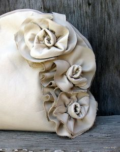 Vanilla Cream Leather Bowler Bag with Natural Edge Roses by Stacy Leigh