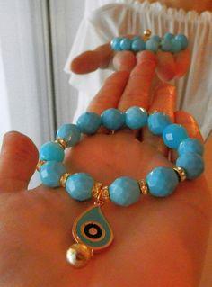 Evil eye Beaded Bracelet - Turquoise Beads Bracelet, Turquoise Gemstone Bracelet