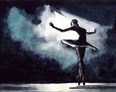 Impresión de Giclee de la acuarela original de una agraciado bailarina del lago de los cisnes, en fluir hermosa y grácil tutú romántico. La bailarina de prima se muestra en la llamativa silueta contra un foco luminoso y el oscuro escenario. Los pliegues de su falda muestran maravillosamente en el brillo sutil. Levantó los brazos como alas, zapatos del pointe en dedo del pie y muy bien señalado, la bailarina es un estudio en arte y gracia.  Ideal como regalo para una bailarina, un estudiante…