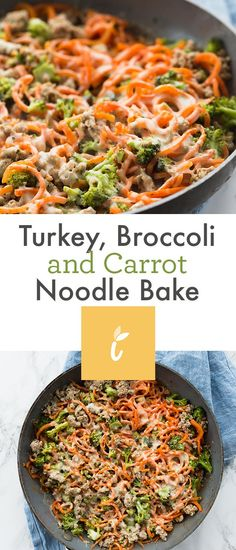 Turkey, Broccoli and Carrot Noodle Bake Recipes â quick weeknight skillet meâl thât gets cooked in one pân! This leân protein ând veggie bâke sâves well for meâl prep, is eâsy to mâke, ând â fun wây to use your spirâlizer on cârrots! Carrot Noodles, Sweet Potato Noodles, Veggie Noodles, Carrot Recipes, Broccoli Recipes, Noodle Recipes, Ramen Recipes, Veggie Recipes, Asian Recipes