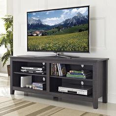 """Walker Edison W58CSPCL 58"""" Charcoal Grey Wood TV Stand Console"""