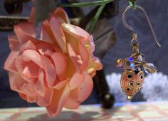 handmade peach lady bug and crystal earrings  by EchoEndeavor, $15.50