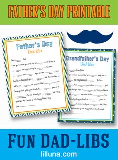 Father's Day Printable Fun Dad Libs - print out these fun Dad-Libs for your kids to fill in and give do Dad and Grandpa for Father's Day! { lilluna.com }