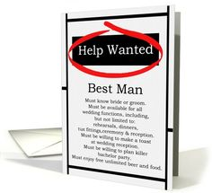 Humorous Best Man Invitations Help Wanted... | Greeting Card Universe