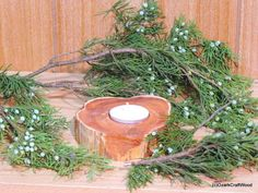 Rustic Candle Holder Eastern Red Cedar Rounds by OzarkCraftWood