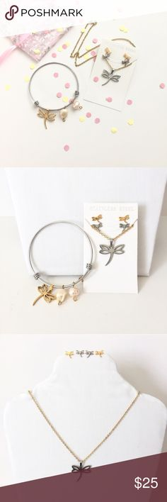 Relisted stainless steel dragonfly jewelry set Stainless steel earrings , chain, pendant & charm bracelet  bracelet is adjustable everything pictured included✨ handmade Jewelry Necklaces