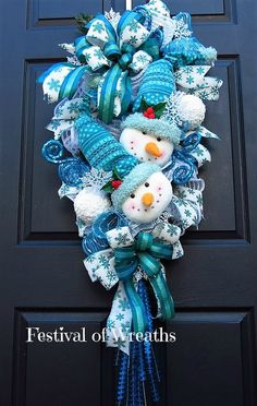 Christmas Wreath Swag Christmas Front Door by FestivalofWreaths