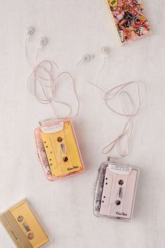 Clear cassette tape player with AM/FM radio. Includes earphones + belt clip for everything you need to rock out to your favorite cassettes. **Content + Care** \- Requires 2 AA batteries (not included) \- Plastic, electronics \- Wipe clean \- Imported