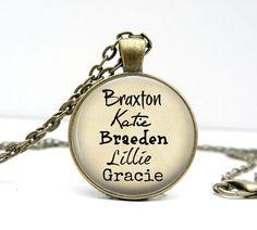 Peronalized Grandparent Necklace Grandchildren Names by Lizabettas
