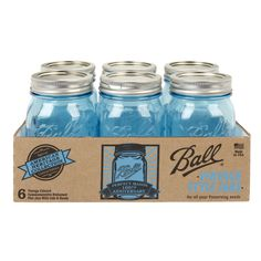 Ball Blue Heritage Collection Jars 6 Pack - Ace Hardware Great for decorating and gifts Ace Hardware Store, 16 Oz Mason Jars, Ball Jars, Glass Company, Canning Jars, Food Storage Containers, Vintage Colors, Vintage Style, Antique Glass
