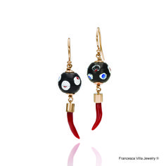 My lucky Day Earrings in gold, red coral and vintage glass beads from Africa.