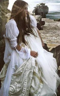 Romantic Boho Wedding Dress - very Shabby Chic, very Pre Raphaelite