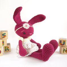 Amigurumi rabbit - Bunny in a cotton dress - Crochet stuffed animal - Cute toy - Baby shower gift - Purple, pink and cream