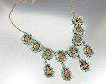 Art Deco Necklace, Bib Necklace, Enamel Sterling Silver Gold Vermeil Necklace, Etruscan Gold Necklace, Antique Jewelry, Vintage 1920 Deco