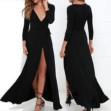 Sexy Women V Neck Split Maxi Boho Tunic Bandage Long Sleeve Party Cocktail Dress #dresses #fashion #style #women #trend