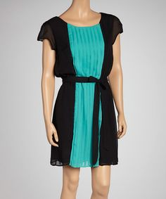 Take a look at this Black & Teal Pleated Color Block Dress on zulily today!