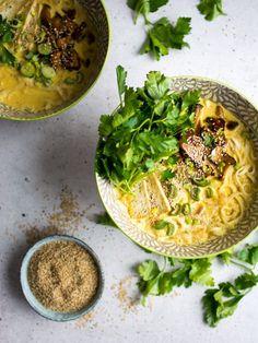 A rich, vegan, coconut curry ramen bowl, with marinated mushrooms and crispy tofu!