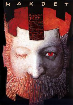 Makbet - Giuseppe Verdi, Polish Opera Poster. Design: Mieczyslaw Gorowski