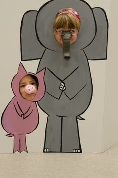 Elephant and Piggie cutout board for a children's birthday....because my 3yo GIRL wants an elephant party when she turns 4!
