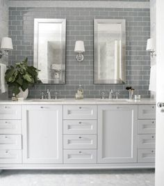 Bathroom decor for your master bathroom renovation. Learn bathroom organization, master bathroom decor some ideas, master bathroom tile tips, bathroom paint colors, and much more. Gray Subway Tile Backsplash, Grey Subway Tiles, Glass Subway Tile, Glass Tiles, Grey Tiles, Backsplash Ideas, Glass Tile Bathroom, Hex Tile, Beveled Mirror Bathroom
