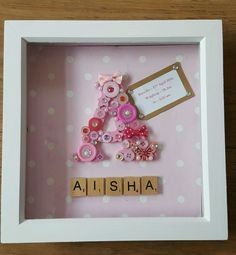 GORGEOUS Large Initial/Letter SCRABBLE Frame. New Baby christening keepsake gift in Crafts, Hand-Crafted Items | eBay Framed Letters, Scrabble Frame, Scrabble Art, Scrabble Tile Crafts, Button Crafts, Button Art, Friend Birthday Gifts, Diy Gifts For Boyfriend, Christening Gifts