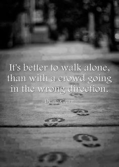 It's better to walk alone than with a crowd going in the wrong direction | Anonymous ART of Revolution