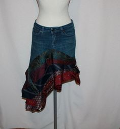 Eco Couture Upcycled Jean Skirt with vintage ties free form OOAK. $79.99, via Etsy. It looks so crazy I am tempted to try to make this.