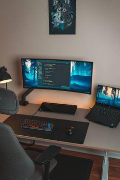 Best Gaming Setup, Computer Desk Setup, Dj Setup, Studio Setup, Home Office Setup, Home Office Design, Home Studio, Interior Ceiling Design, Bedroom Setup