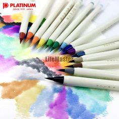 LifeMaster 14pcs/lot Platinum Diversity Color Brush Pen Refillable Soft Nylon Calligraphy Watercolor Pen Painting Supplies