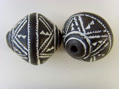 2 Terracotta Black Bicone Beads from Mali