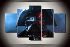 Star Wars Darth Vader 5 Panel Framed Wall Canvas Art