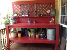 Old Wood Bench Potting Station 19 Super Ideas Pallet Potting Bench, Potting Tables, Potting Bench With Sink, Weekend Projects, Home Projects, Christmas Projects, Cottage Garden Design, Home And Garden, Garden Nook