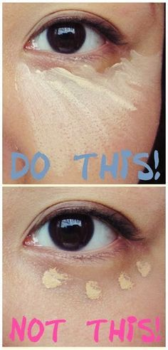 Cover up dark circles by applying concealer in a triangle shape. This technique gives saggy eye bags a bigger lift.