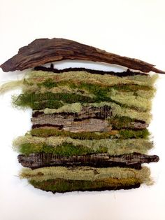 Handwoven Moss and Bark Tapestry ∇ Forrest Wall Hanging ∇ All Natural Textile
