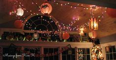 My collection of Halloween paper lanterns hung from my sunroom ceiling.