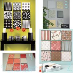 Scrapbook Paper Wall Art~need to see if our store sells chevron scrapbook paper :)