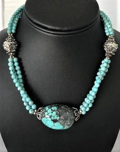 Green Turquoise  beaded Choker Shell Conch Pendant Women Necklace SU