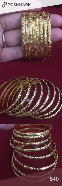 NIB metal bangles set of 8 size 2.6 diameter NIB Indian  metal bangles set of 8 . size 2.6 diameter very high quality bangles comes in a box shown in picture. Jewelry Bracelets