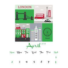 2017 2016 calendar printable London UK, Sept 2016 - Dec 2017 Digital PDF Download, Letter Size A4, British England Tower Bridge by HemBee on Etsy