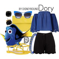 Dory by leslieakay on Polyvore featuring Boohoo, Nine West, Marni, Kate Spade, Dsquared2, Dita, disney, disneybound and disneycharacter