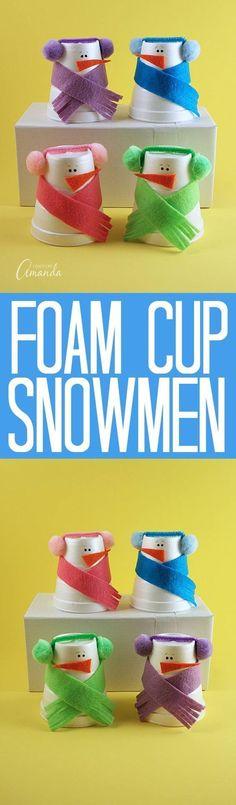 DIY Foam Cup Snowmen